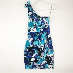 BOGO Bisou Bisou [6] Blue Floral 1 Shoulder Dress